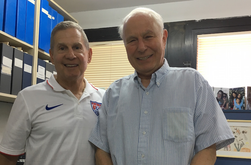 Jeffrey Kriezelman, left, visiting Nobel Prize winner Avram Hershko