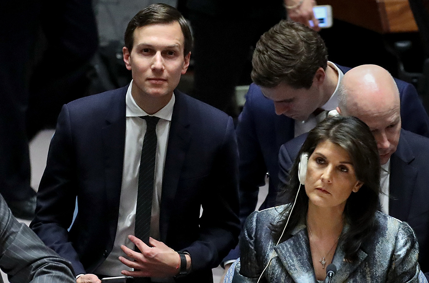Jared Kushner takes his seat as U.S. ambassador to the United Nations Nikki Haley at UN headquarters in NY, Feb. 20, 2018 (Drew Angerer/Getty Images)