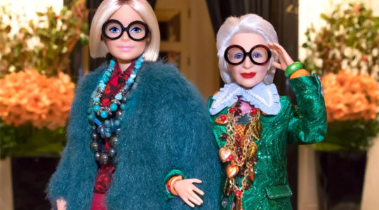 A Barbie doll in the image of Iris Apfel, right. Photo: Courtesy of Mattel Inc