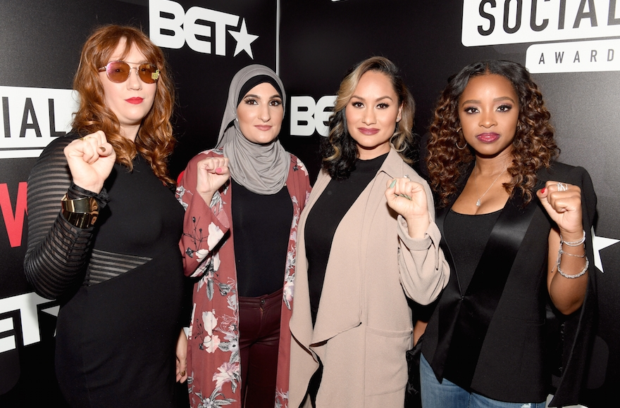 The organizers of the Women's March, from left to right, Bob Bland, Linda Sarsour, Carmen Perez and Tamika Mallory, at BET's Social Awards in Atlanta, Feb. 11, 2018. (Paras Griffin/Getty Images for BET)