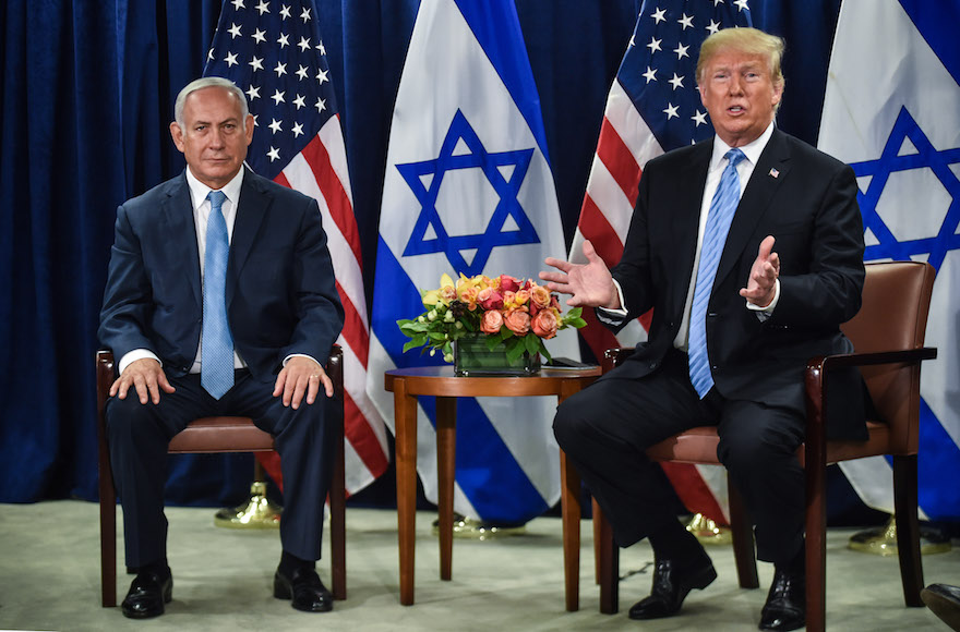 Trump, alongside Netanyahu, says he favors two-state ...