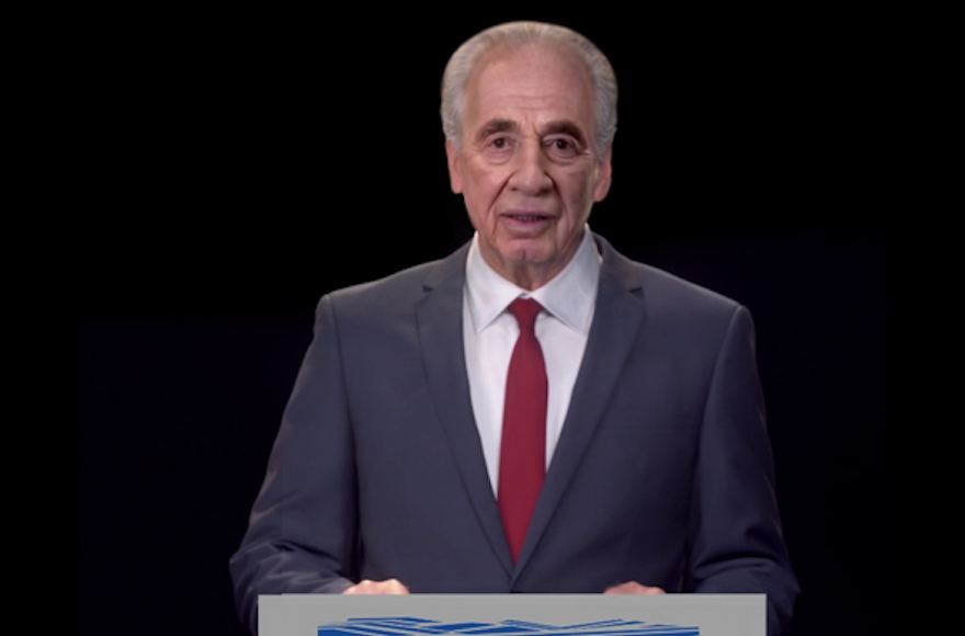 Shimon Peres hologram reads 'spiritual will' at innovation summit