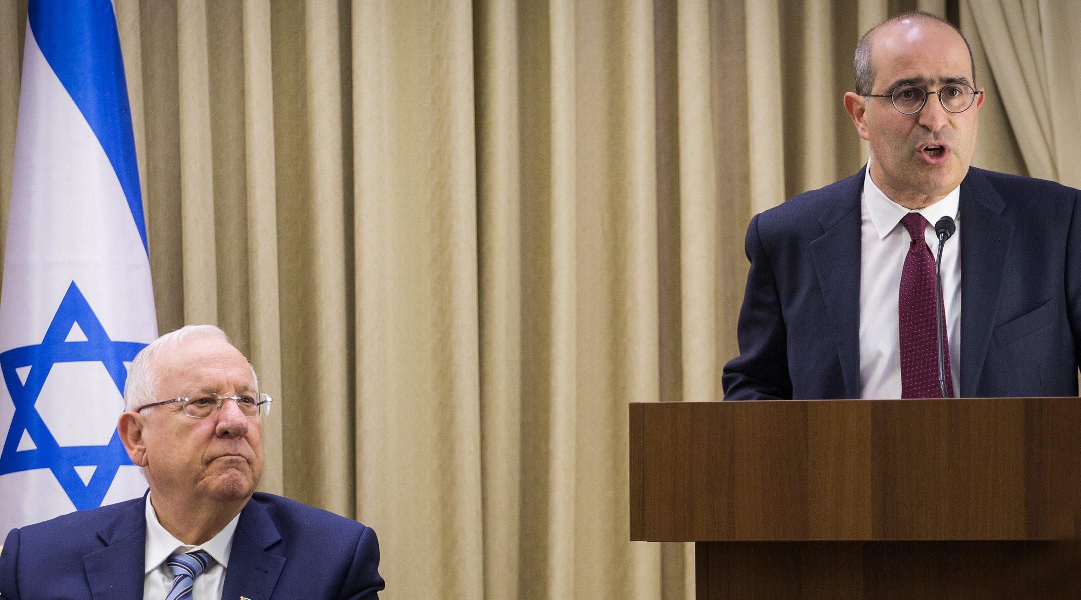 Gideon Taylor, right, speaking alongside Israeli President Reuven Rivlin in Jerusalem in 2017. Hadas Parush Flash90