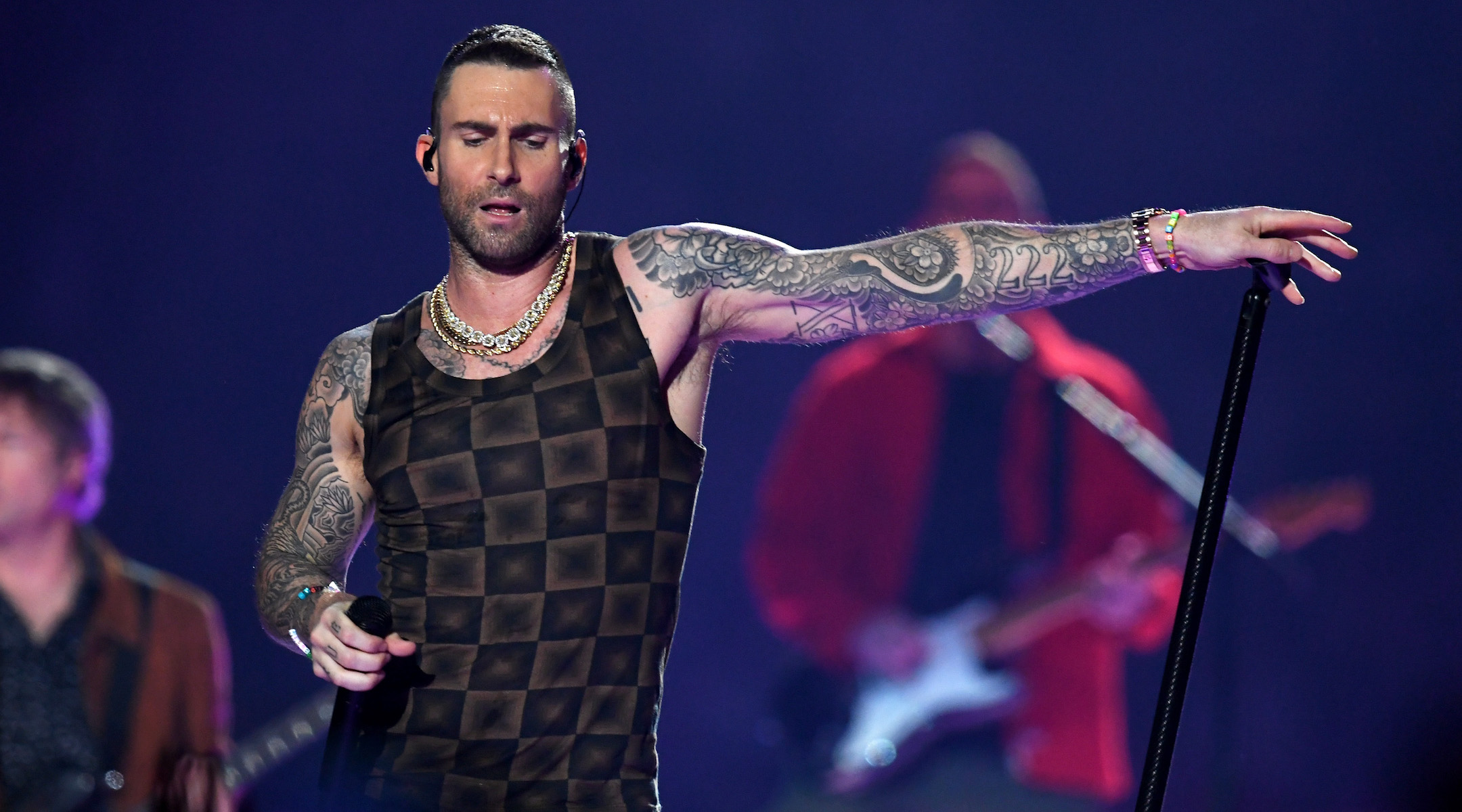 2deb6f768 Adam Levine of Maroon 5 performs during the Super Bowl LIII halftime show  at Mercedes-Benz Stadium in Atlanta, Feb. 3, 2019. (Kevin Winter/Getty  Images)