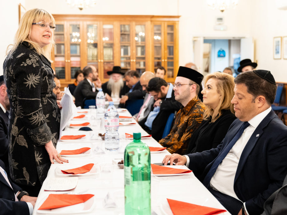 Marie van der Zyl, the president of the Board of Deputies of British Jews, attending an interfaith event in London on June 13, 2018. Courtesy of the Board of Deputies of British Jews