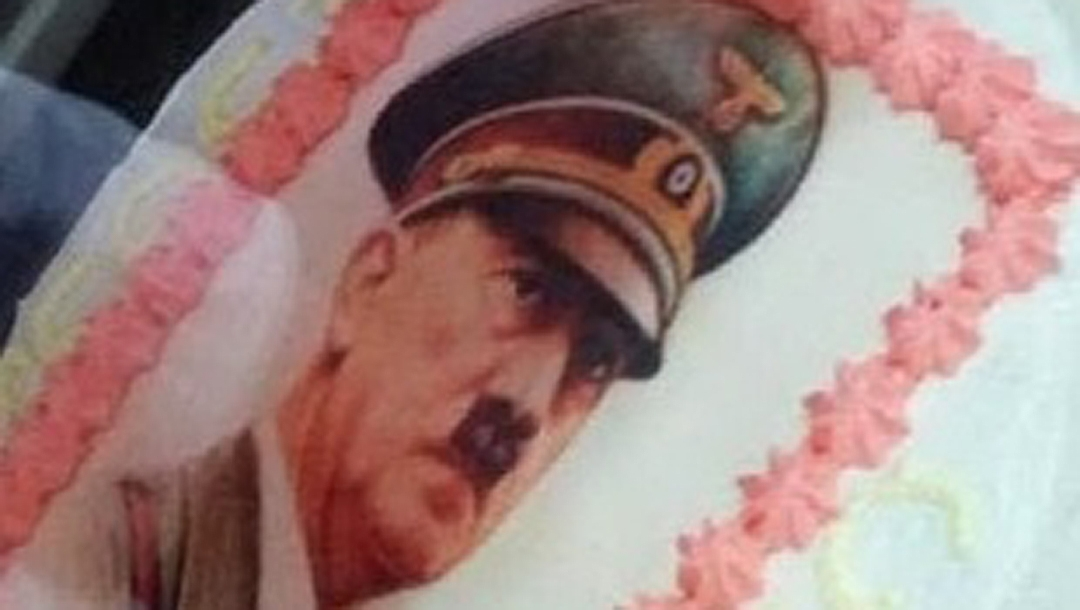 A portrait of Adolf Hitler on a birthday cake in Italy, Jan. 27, 2019. (Photo courtesy of the Simon Wiesenthal Center)