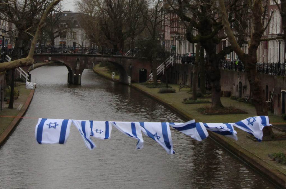 Israeli flags in Utrecht, the Netherlands during a protest by Zionist Christians against a local party's endorsement of BDS on March 12. Courtesy of Christenen voor Israel