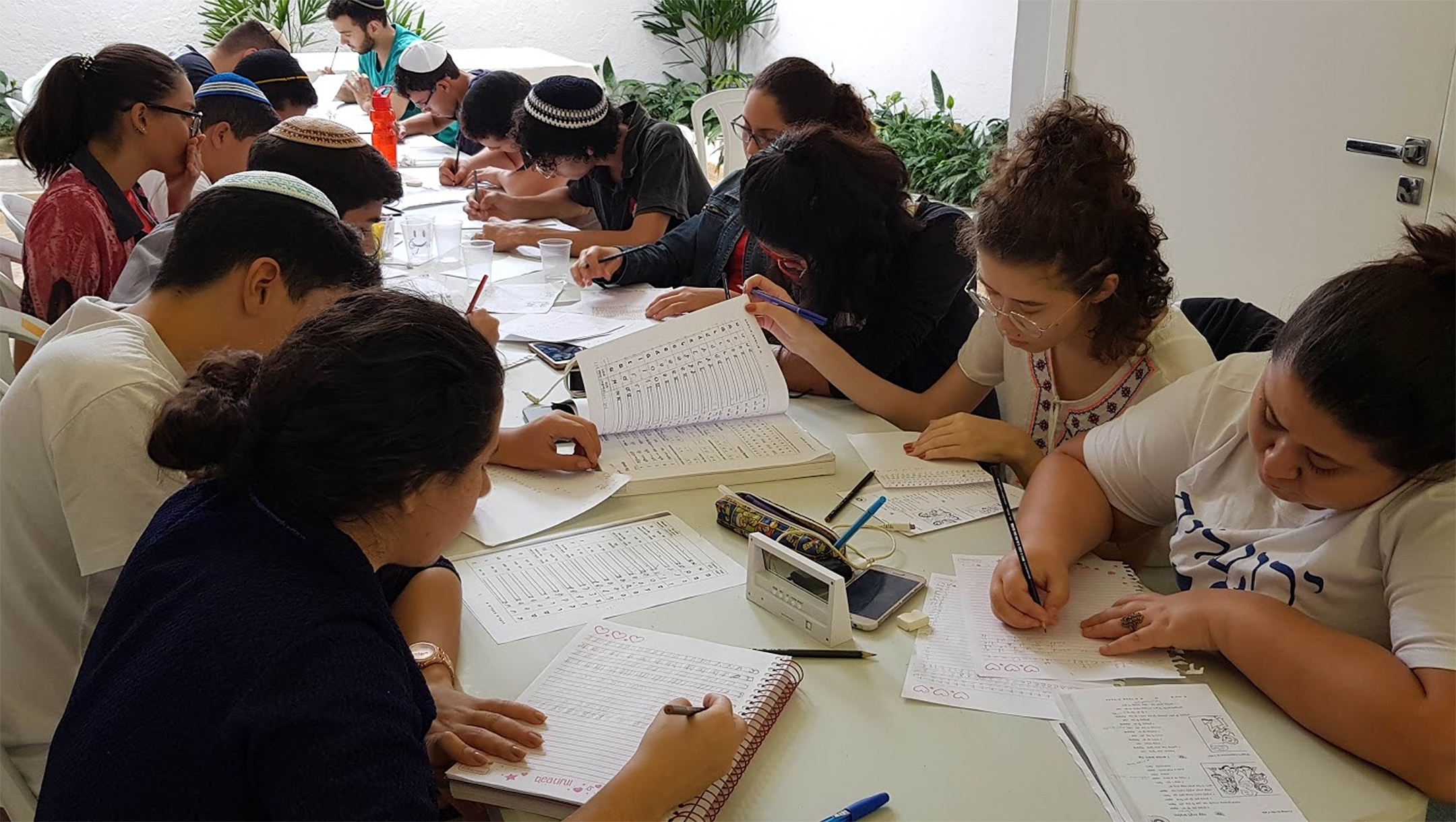 Participants of Brazil's Yeshiva Camp in hitting the books in Sao Paulo in 2018. Courtesy of Yeshiva Camp