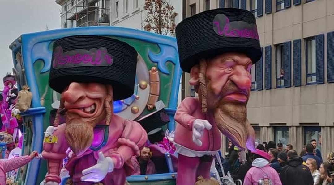Puppets of Jews on display at the Aalst Carnaval in Belgium on March 3, 2019. Courtesy of FJO