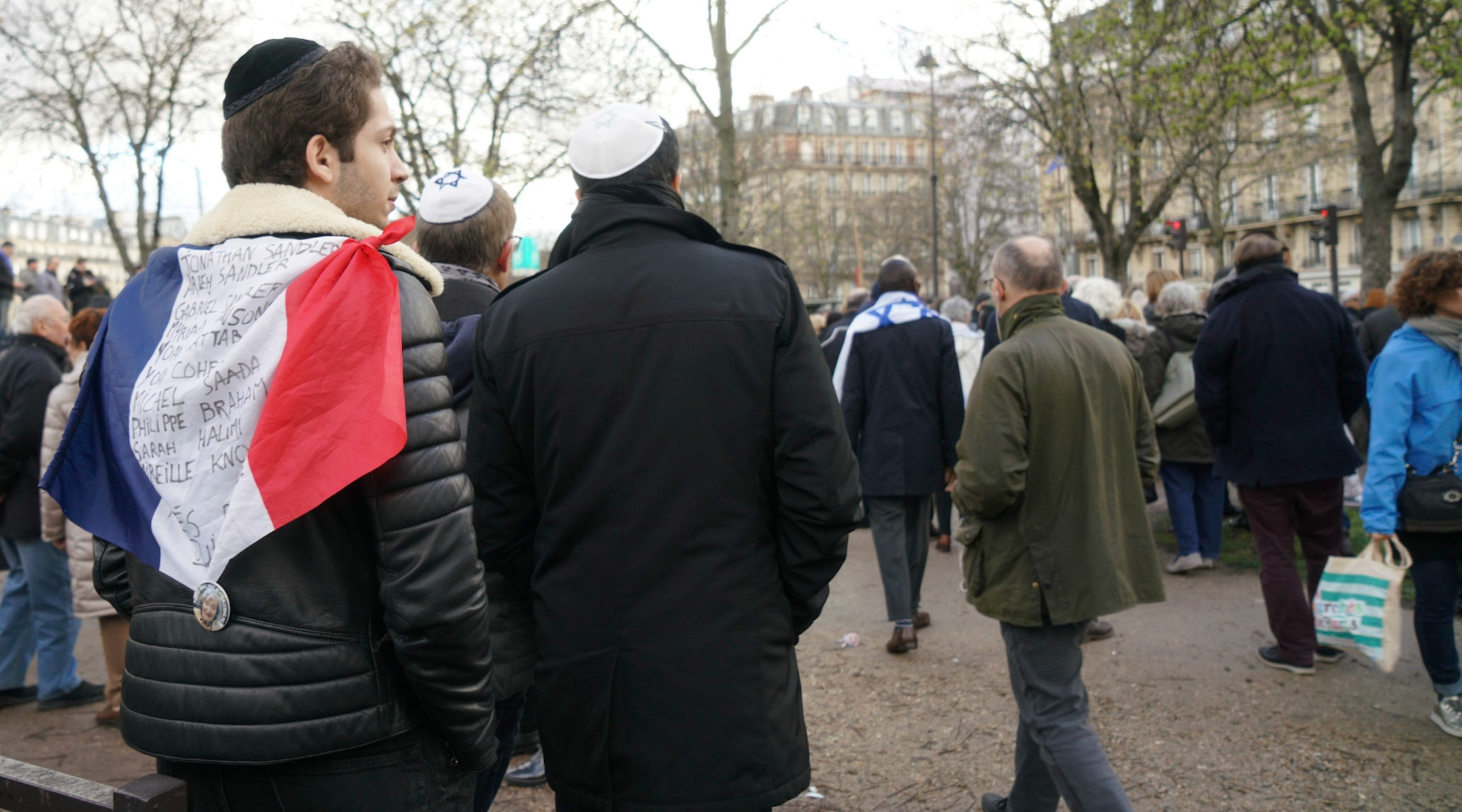 French Jews at a march protestic anti-Semitic violence in Paris, France on March 28, 2018. (Cnaan Liphshiz)
