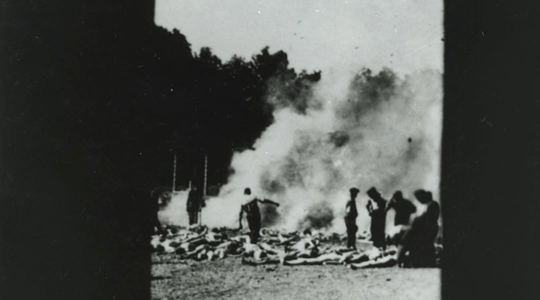 Bodies of murdered Jews from Hungary being burned at Auwschwitz in 1944. (Alberto Errera/Auschwitz Memorial and Museum)