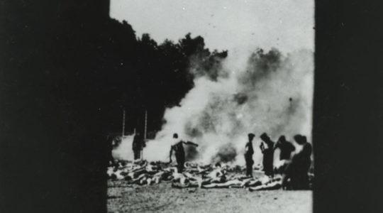 Bodies of murdered Jews from Hungary being burned at Auwschwitz in 1944. (Alberto Errera/Auschwitz Memorial and Museum)