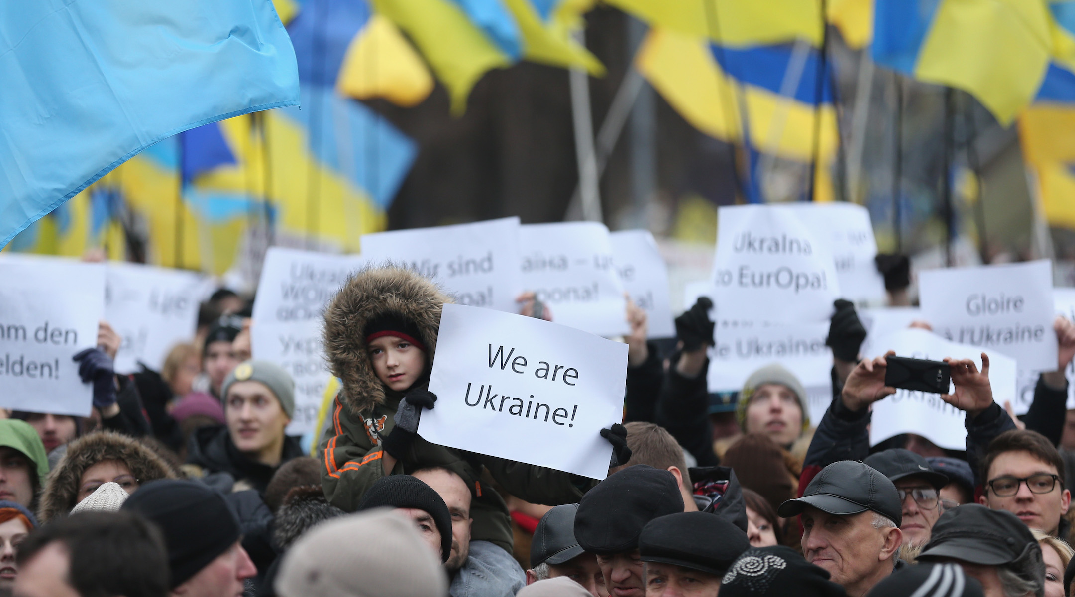 Participants in the March of Dignity gather in Kiev's Maidan Independence Square for ceremonies marking the first anniversary of the Maidan Revolution that led to the ouster of Ukrainian President Viktor Yanukovic, Feb. 22, 2015. (Sean Gallup/Getty Images)