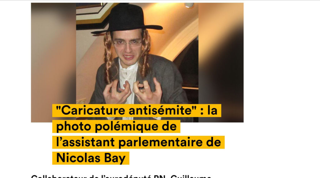 Aide to French far-right party leader pictured wearing Orthodox Jew costume