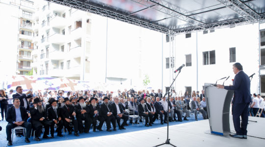Michael Mirilashvili attending the opening of a new educational complex in Tblisi, Georgia on April 28. (Courtesy of the Euro-Asian Jewish Congress)