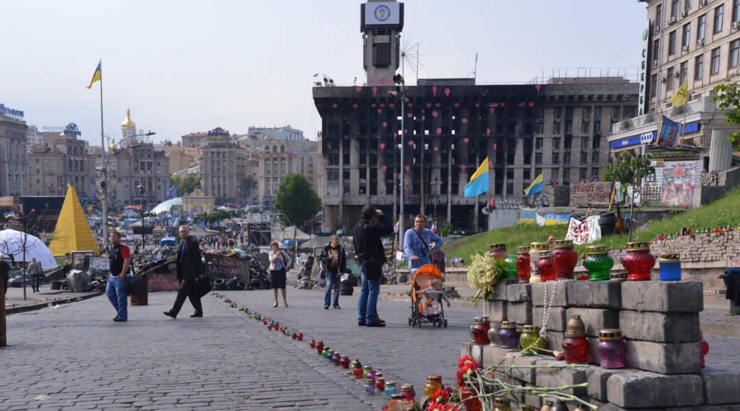 Residents of Kiev, Ukraine at Maidan square on May 15, 2014. (Cnaan Liphshiz)