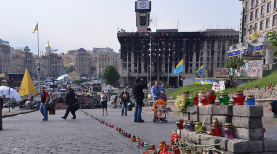 Residents of Kiev, Ukraine at Maidan square on May 15, 2014. (Cnaan Liphshiz)