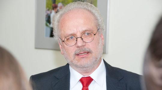 Latvian Presidnet Egils Levits in Riga in 2013. (Toms Norde/Wikimedia Commons)