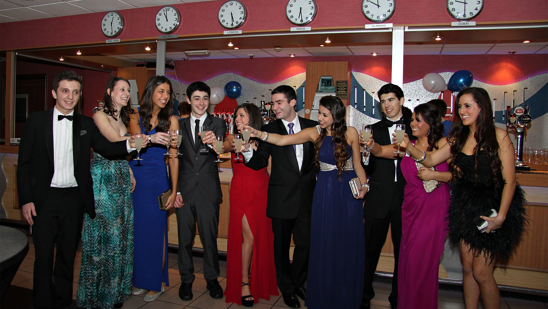 Jewish students toasting at the JSOC Annual Ball in Birmingham, the United Kingsdom, on March 17, 2013. (Kyle Sayers)