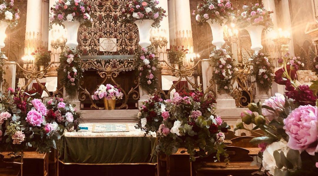 Flowers decorating the Great Synagogue of Rome, Italy in June 2019. (Courtesy of the Conference of European Rabbis)