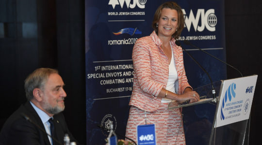 EU coordinator of the fight against anti-Semitsm, Katharina von Schnurbein, looking at World Jewish Congress executive vice president Robert Singer during a conference in Bucharest, Romania on June 17, 2019. (Shahar Azran / World Jewish Congress)