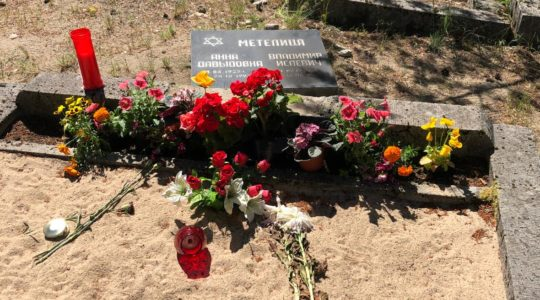 The aftermath of desecration of graves at a Jewish cemetery in Tallinn, Estonia on June 22, 2019 (CFCA)