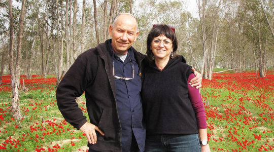 Yoskeh and Nurit Mamrmurstein enjoying winter blossoms in Alumum, Israel in 2012. (Courtesy of Yoskeh)