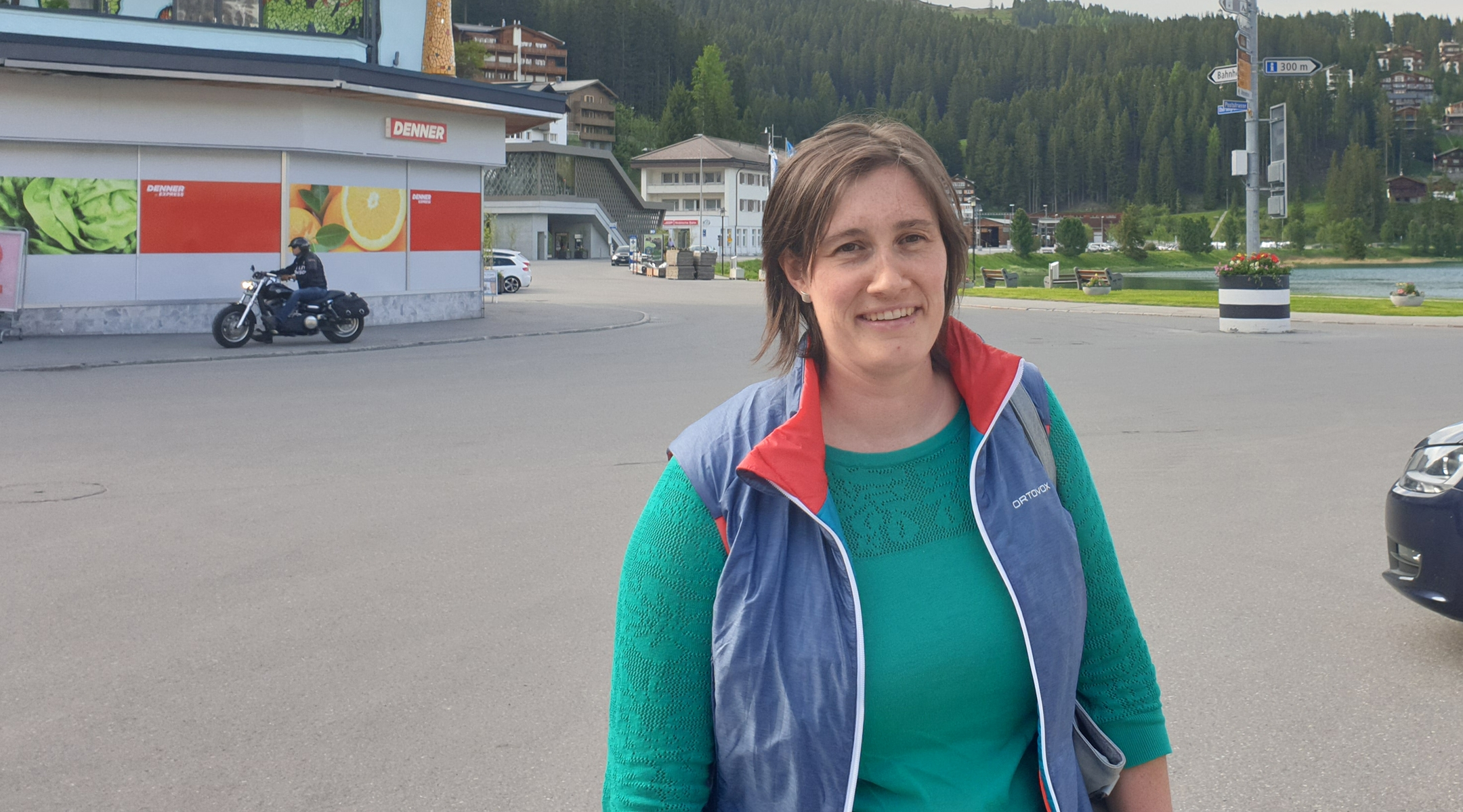 Lena Zuberbuehler returning from shopping in Arosa, Switzerland on June 14, 2019. (Cnaan Liphshiz/JTA)