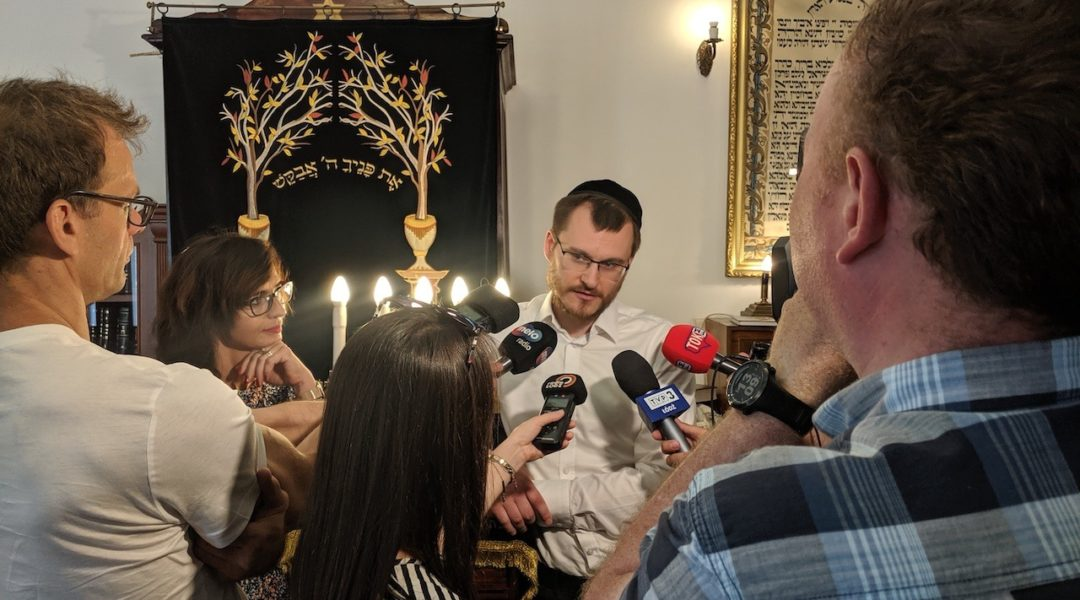 Rabbi Dawid Szychowski telling journalists about the Festival of Tranquility that he launched in Lodz, Poland on June 8, 2019. (Photo courtesy of Shvei Israel)