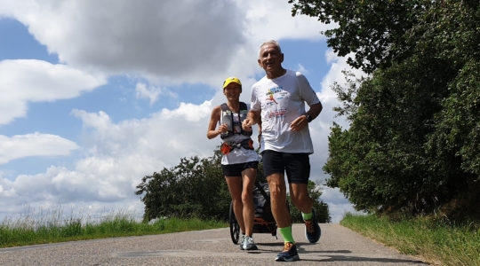 Peter Hajdú running from Prague to Budapest for the Maccabi Europe Games on July 26, 2019. (Courtesy of EMG Hungary)