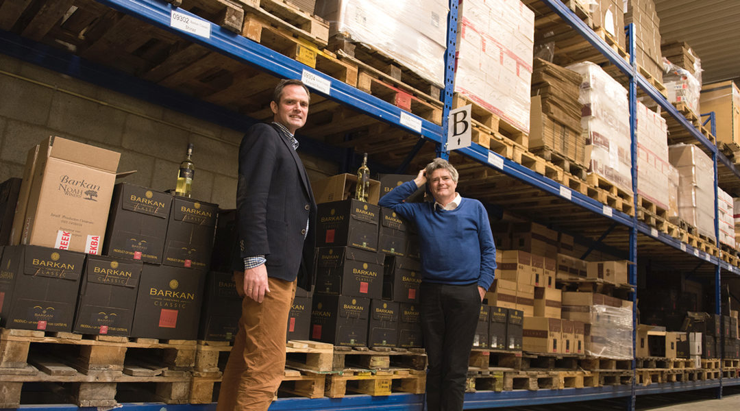 Pieter van Oordt, right, with his brother Roger at the Israel Products Center in Nijkerk, the Netherlands, Feb. 19, 2016. (Cnaan Liphshiz)