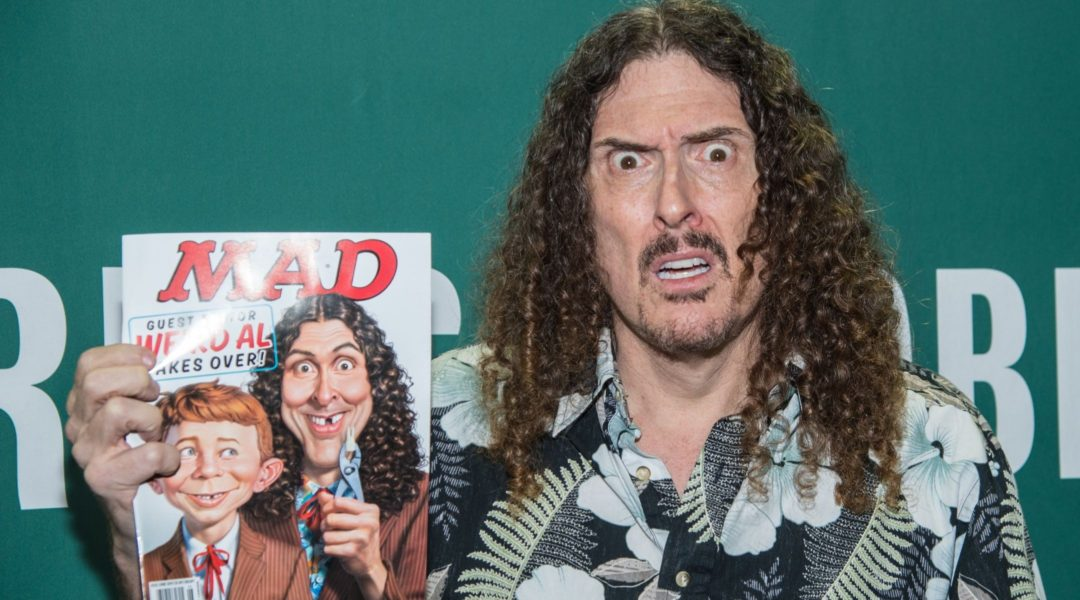 Singer Weird Al Yankovic with his Mad Magazine cover in New York City, April 20, 2015. (Mark Sagliocco/Getty Images)