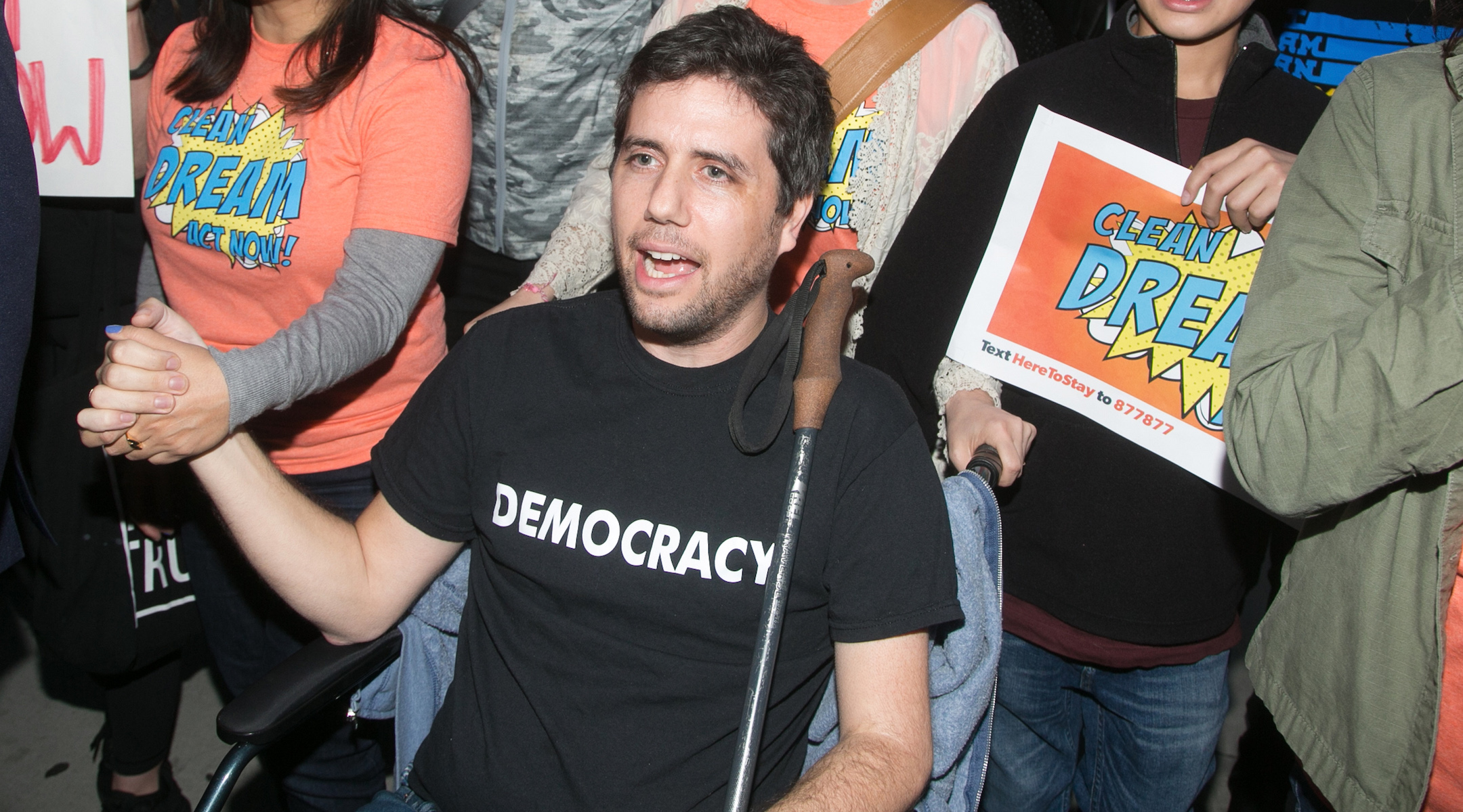 Ady Barkan attends the Los Angeles Supports a Dream Act Now! protest at the office of California Senator Dianne Feinstein on January 3, 2018 in Los Angeles, California. (Gabriel Olsen/Getty Images)