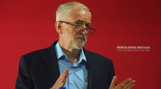 U.K. Labour leader Jeremy Corbyn at the SOAS University of London, July 14, 2019. (Kirsty O'Connor/PA Wire/Getty Images)