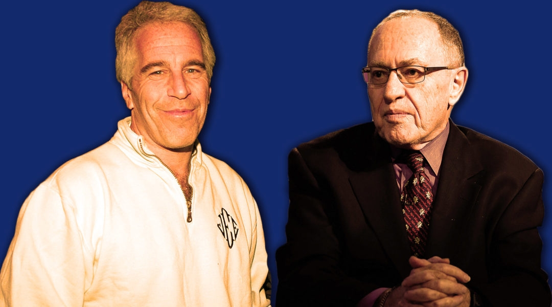 Alan Dershowitz (right) represented sex offender Jeffrey Epstein in a controversial 2008 plea deal and, previously, would send him copies of his books to review before publication. (JTA illustration by Laura Adkins)