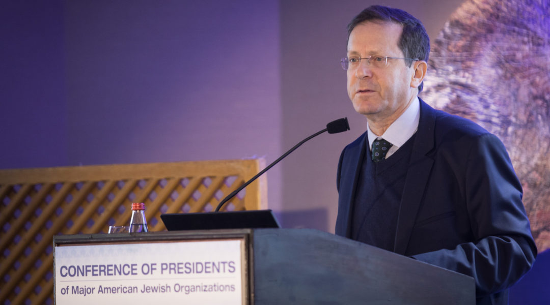 Chairman of the Jewish Agency Isaac Herzog speaks at the Conference of Presidents of Major American Jewish Organizations in Jerusalem on February 18, 2019. Herzog believes that it's still possible to bridge between Israeli and American Jews. (Hadas Parush/Flash90)