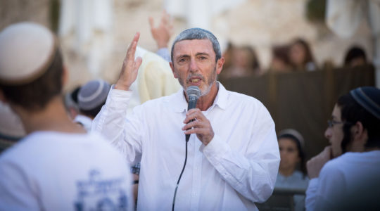 Education Minister Rafi Peretz speaks at the Western Wall in Jerusalem's Old City on July 4, 2019. (Yonatan Sindel/Flash90)