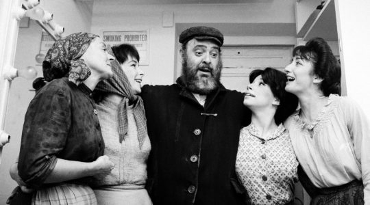"From left: Maria-Karnilova, Tanya Everett, Zero Mostel, Julia-Migenes and Joanna Merlin backstage at opening night of ""Fiddler on the Roof"" at the Imperial Theater in New York City, Sept. 22, 1964. (AP/Courtesy of Roadside Attractions and Samuel Goldwyn Films)"