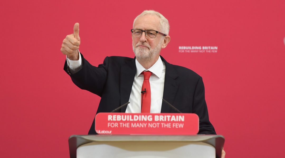 Labour leader Jeremy Corbyn, shown making a speech during a visit to Pen Green Children's Centre in Corby, England, Aug. 19, 2019, has been accused of allowing anti-Semitism in his party. (Joe Giddens/PA Images via Getty Images)