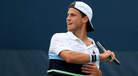 Diego Schwartzman returns a shot during his match against Robin Haase on day two of the 2019 US Open at the USTA Billie Jean King National Tennis Center in Queens, New York City, Aug. 27, 2019. (Al Bello/Getty Images)