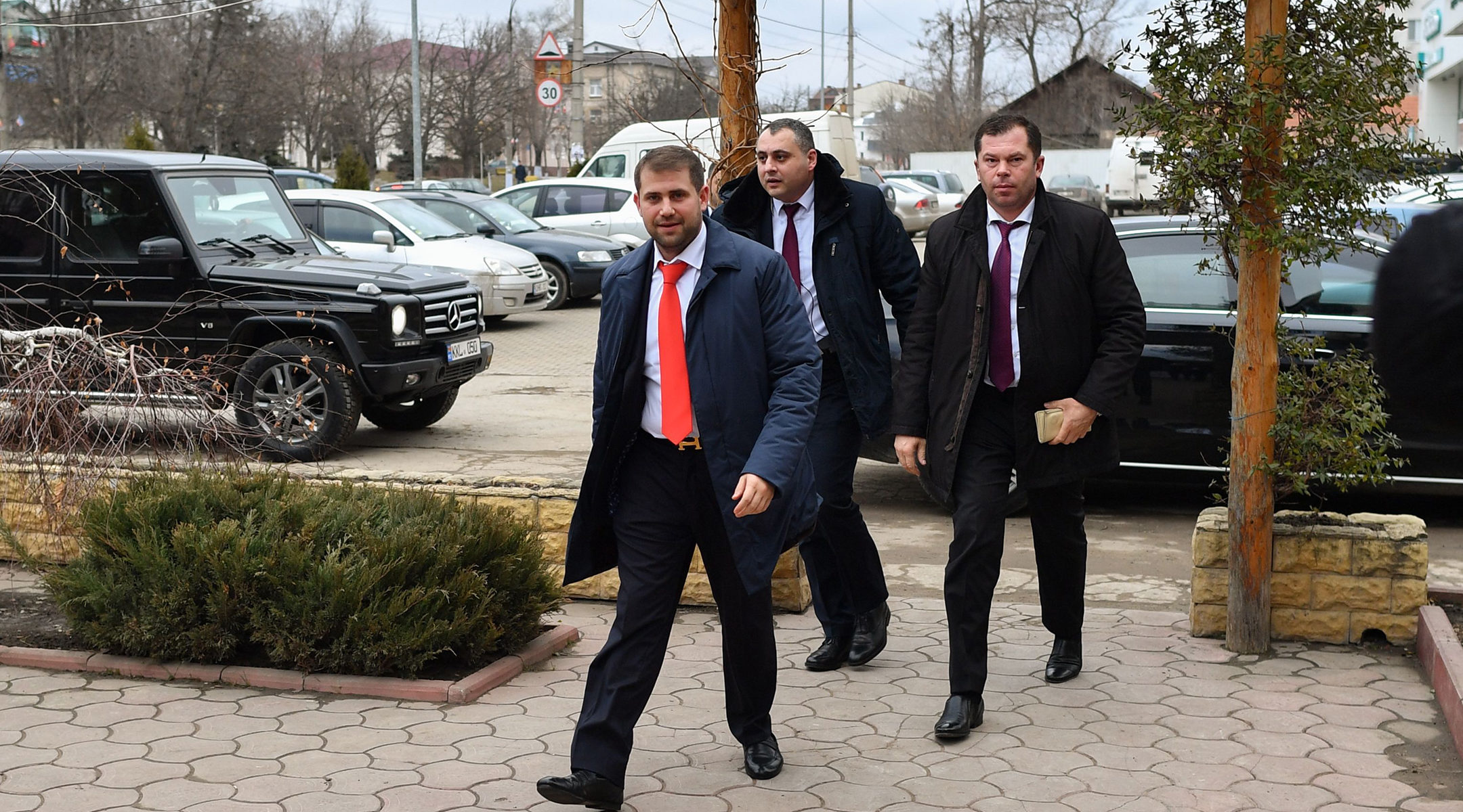 Ilan Shor, a lawmaker and former mayor who was convicted of embezzlement, arriving to meet supporters in Comrat, Moldova on February 15, 2019. (Daniel Mihailescu/AFP/Getty Images)
