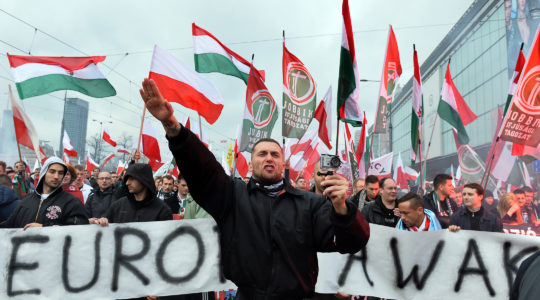 Hungarian supporters of the far-right Jobbik party participating in a nationalist march through Warsaw, Poland on Nov. 11, 2015. (Janek Skarzynski/AFP/Getty Images)
