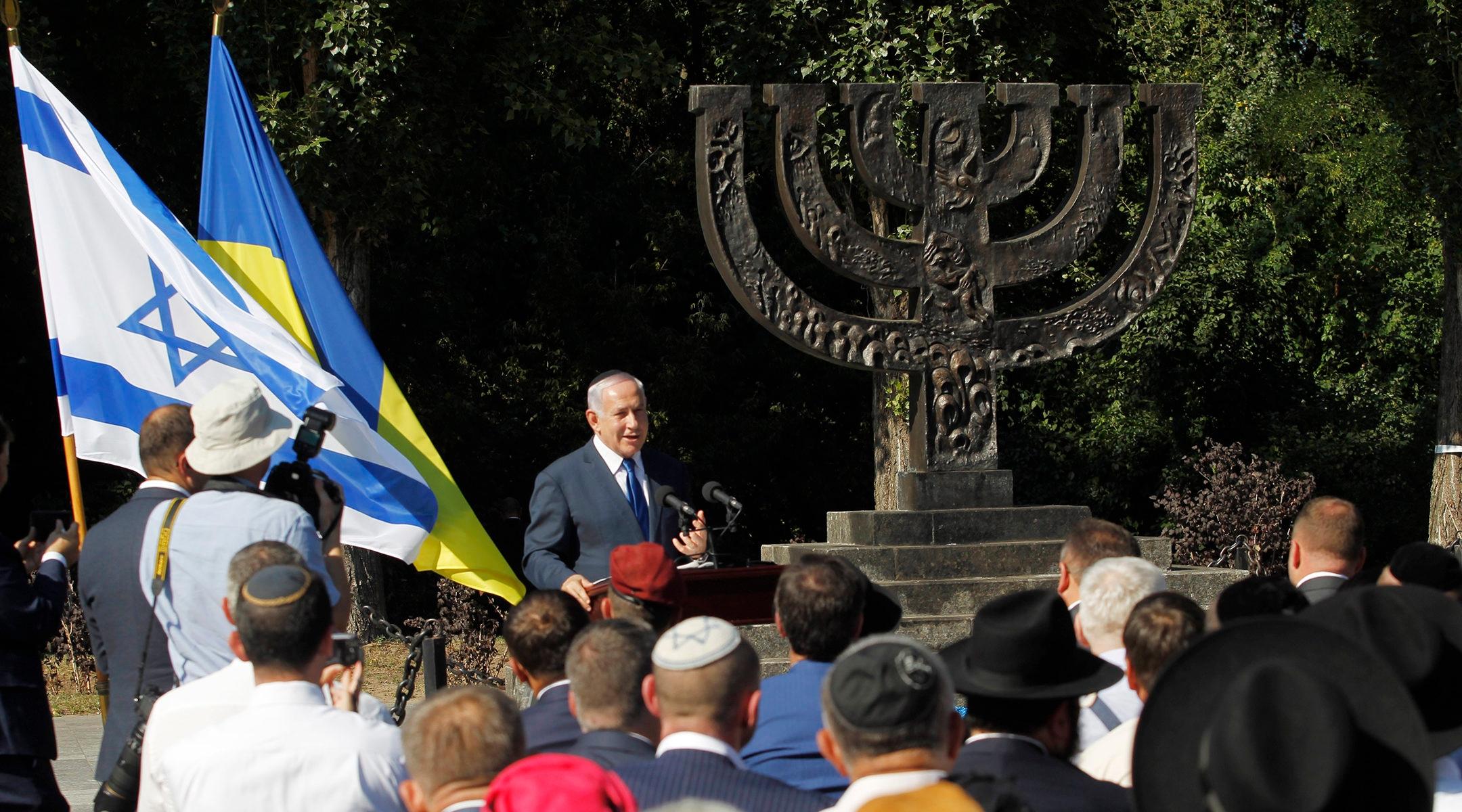Israeli Prime Minister Benjamin Netanyahu speaking at the Babi Yar Holocaust monument near Kiev, Ukraine on Aug. 19, 2019. (Pavlo Gonchar/SOPA Images/LightRocket via Getty Images)