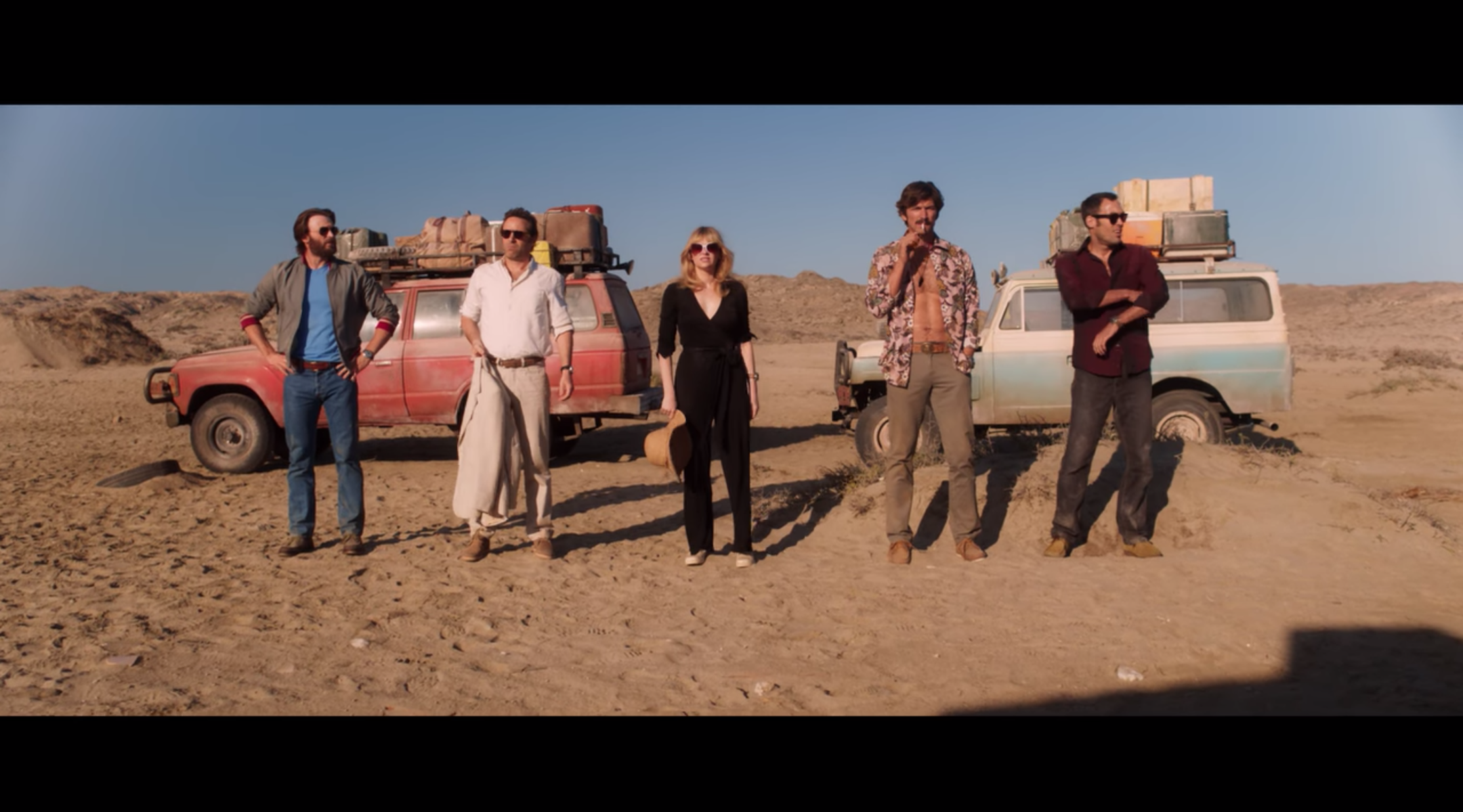 """Chris Evans (left) and his co-stars in """"The Red Sea Diving Resort,"""" a new Netflix film about an Israeli rescue of Ethiopian Jews. (Screenshot from Netflix)"""