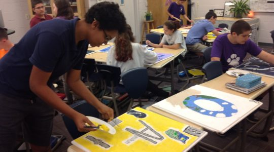Students at Hershorin Schiff Community Day School in Sarasota, Fla. create panels for the periodic table of elements. (Ben Sales)
