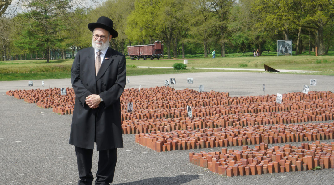 Dutch Chief Rabbi Binyomin Jacobs at Westerbork Memorial Center on May 14, 2017. (Cnaan Liphshiz)