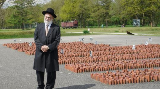 Dutch Chief Rabbi Binyomin Jacobs at Westerbork Memorial Center on May 14, 2017. (Cnaan Liphshiz)