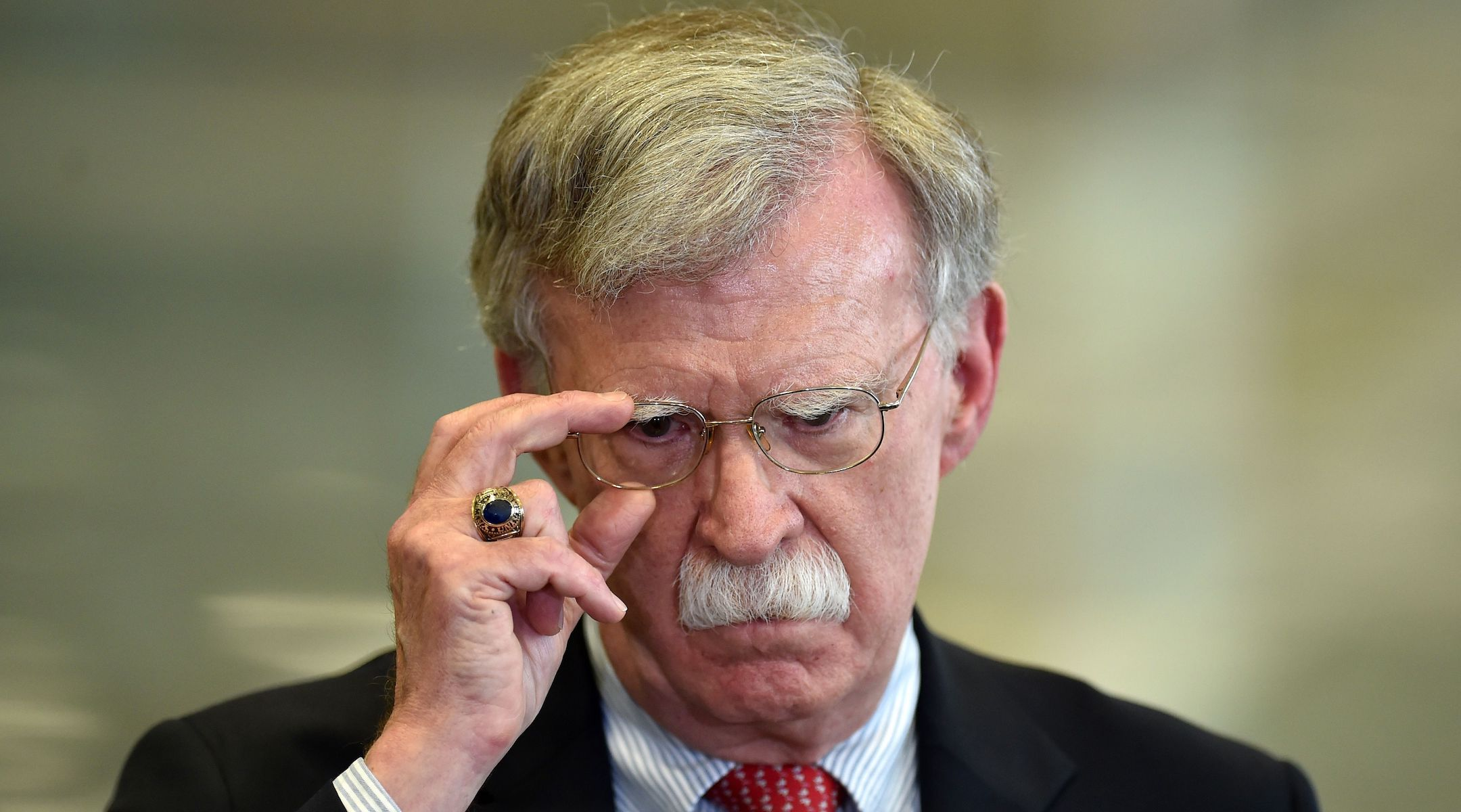 National Security Advisor John Bolton answers journalists' questions after his meeting with Belarus' president in Minsk, Aug. 29, 2019. (Sergei Gapon/AFP/Getty Images)