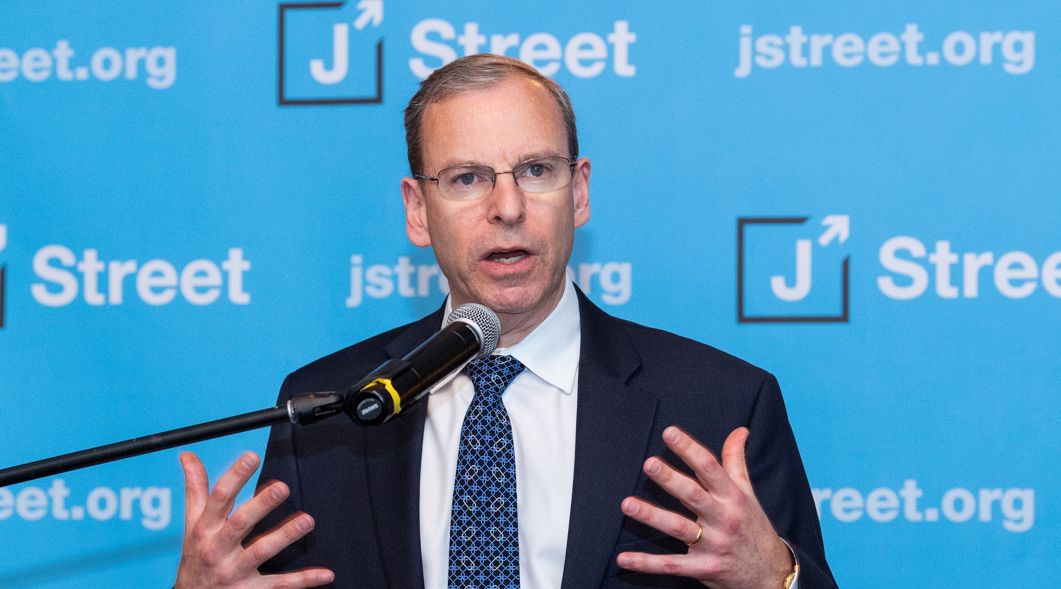 Jeremy Ben-Ami, president of J Street, speaking at the J Street National Conference in 2018. (Michael Brochstein/SOPA Images/LightRocket via Getty Images)