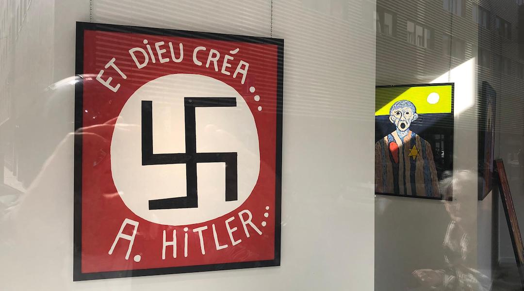 A painting featuring a large swastika at the Bog-Art gallery in Brussels, Belgium.(Courtesy of LBCA)